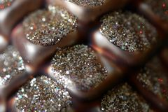 Το Sparkly ακτινοβολεί Pinecone - ζωηρόχρωμη διακόσμηση Χριστουγέννων στοκ εικόνες με δικαίωμα ελεύθερης χρήσης