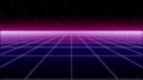 Το Synthwave καθαρό και το αναδρομικό υπόβαθρο αστεριών τρισδιάστατο δίνουν διανυσματική απεικόνιση