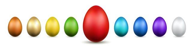 Τρισδιάστατα εικονίδια αυγών Πάσχας Ο χρυσός, αυγά χρώματος έθεσε το απομονωμένο άσπρο υπόβαθρο Χρυσό σχέδιο, ευτυχής εορτασμός Π απεικόνιση αποθεμάτων