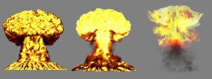 τρισδιάστατη απεικόνιση της έκρηξης - έκρηξη ατομικών μανιταριών 3 μεγάλη πολύ ιδιαίτερα λεπτομερής διαφορετική φάσεων της βόμβας διανυσματική απεικόνιση