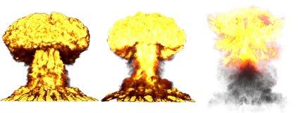 τρισδιάστατη απεικόνιση της έκρηξης - έκρηξη ατομικών μανιταριών 3 μεγάλη υψηλή λεπτομερής διαφορετική φάσεων της πυρηνικής βόμβα διανυσματική απεικόνιση