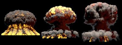 τρισδιάστατη απεικόνιση της έκρηξης - 3 μεγάλες διαφορετικές φάσεις βάζουν φωτιά στην έκρηξη ατομικών μανιταριών της βόμβας τήξης διανυσματική απεικόνιση