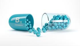 τρισδιάστατη απόδοση μιας κάψας βιταμινών με τη βιταμίνη B12 - Cobalamin ελεύθερη απεικόνιση δικαιώματος