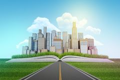 τρισδιάστατη απόδοση του δρόμου ασφάλτου που οδηγεί στους ουρανοξύστες πόλεων που στηρίζονται σε ένα ανοικτό βιβλίο στο υπόβαθρο  στοκ φωτογραφία