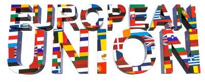 τρισδιάστατη κείμενο-ευρωπαϊκή ένωση με την εικόνα 28 εθνικών σημαιών των κρατών μελών της ΕΕ ελεύθερη απεικόνιση δικαιώματος