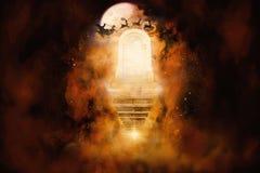 τρισδιάστατη δίνοντας απεικόνιση του έργου τέχνης πυλών ενός άλλου διαστατικού πολύχρωμου ουρανού διανυσματική απεικόνιση