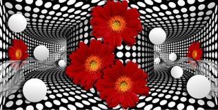 τρισδιάστατη ταπετσαρία, κόκκινες gerberas και σφαίρα στο οπτικό υπόβαθρο παραισθήσεων διανυσματική απεικόνιση