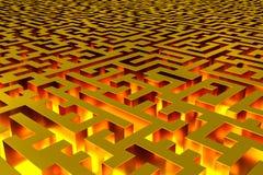 Τρισδιάστατος άπειρος χρυσός λαβύρινθος που φωτίζεται από το εσωτερικό Άποψη προοπτικής του λαβύρινθου διανυσματική απεικόνιση