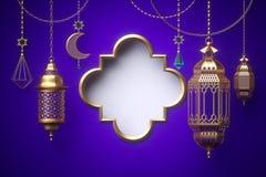 τρισδιάστατος δώστε, κενό πλαίσιο, διακοσμήσεις που κρεμούν στις χρυσές αλυσίδες, φανάρι, Ramadan Kareem, εορταστικό πρότυπο ευχε απεικόνιση αποθεμάτων