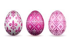Τρισδιάστατο εικονίδιο αυγών Πάσχας Αυγά χρώματος καθορισμένα, απομονωμένο άσπρο υπόβαθρο Σχέδιο λουλουδιών fleur de lis, διακόσμ διανυσματική απεικόνιση