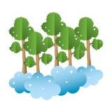 Τροπικός μίσχος κλάδων δέντρων με τα σύννεφα ελεύθερη απεικόνιση δικαιώματος