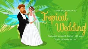 Τροπικό σχεδιάγραμμα γαμήλιας πρόσκλησης με το διάστημα κειμένων απεικόνιση αποθεμάτων