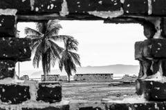 Τρύπα τιτιβίσματος μέσω ενός τουβλότοιχος παράδεισος νησιών τροπικός στοκ εικόνα