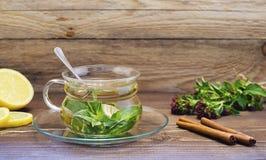 Τσάι μεντών σε ένα διαφανές φλυτζάνι γυαλιού σε ένα πιατάκι με το λεμόνι και την κανέλα 2 στοκ φωτογραφία