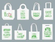 Τσάντα υφάσματος Eco Πέστε το αριθ. στις πλαστικές τσάντες, το σύνθημα απαγόρευσης απορριμάτων πολυαιθυλένιου και την υφαντική απ ελεύθερη απεικόνιση δικαιώματος