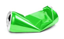 Τσαλακωμένος πράσινος μπορεί στο άσπρο υπόβαθρο στοκ εικόνες