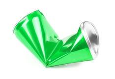 Τσαλακωμένος πράσινος μπορεί στο άσπρο υπόβαθρο στοκ φωτογραφία με δικαίωμα ελεύθερης χρήσης