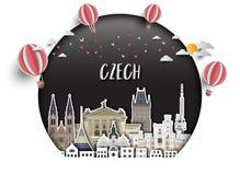 Τσεχικά σφαιρικά ταξίδι ορόσημων και υπόβαθρο εγγράφου ταξιδιών σαν συμπαθητικό πρότυπο μερών σχεδίου stiker για να χρησιμοποιήσε διανυσματική απεικόνιση