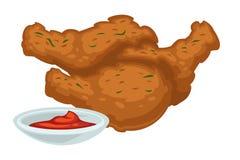 Τσιγαρισμένα πόδια κοτόπουλου με το γεύμα γρήγορου φαγητού σάλτσας διανυσματική απεικόνιση