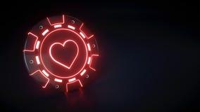 Τσιπ χαρτοπαικτικών λεσχών με το καμμένος σύμβολο κόκκινων φώτων και καρδιών νέου που απομονώνεται στο μαύρο υπόβαθρο - τρισδιάστ διανυσματική απεικόνιση