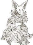 Τυποποιημένη απεικόνιση της αλεπούς fennec στο ύφος σύγχυσης doodle ελεύθερη απεικόνιση δικαιώματος