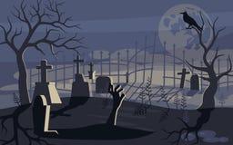 Φάντασμα και zombie στο τρομακτικό υπόβαθρο αποκριών διανυσματική απεικόνιση
