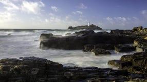 Φάρος Godrevy στο νησί Godrevy στο U της Κορνουάλλης κόλπων του ST Ives στοκ εικόνες