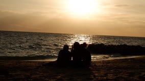 Φίλοι που εξετάζουν ένα όμορφο ηλιοβασίλεμα στοκ εικόνα