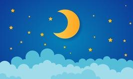 Φεγγάρι και αστέρια στα μεσάνυχτα ύφος τέχνης εγγράφου ελεύθερη απεικόνιση δικαιώματος