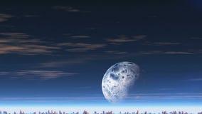 Φεγγάρι πέρα από την αλλοδαπή πόλη απόθεμα βίντεο