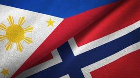 Φιλιππίνες και Νορβηγία δύο υφαντικό ύφασμα σημαιών, σύσταση υφάσματος ελεύθερη απεικόνιση δικαιώματος