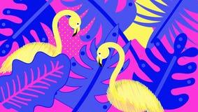 Φλαμίγκο, τροπικά φύλλα, συρμένη χέρι διανυσματική απεικόνιση watercolor Φλαμίγκο για το υφαντικό σχέδιο Ανασκόπηση ζουγκλών Φωτο απεικόνιση αποθεμάτων