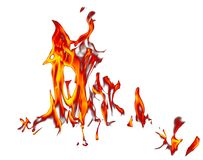 Φλόγα της πυρκαγιάς που απομονώνεται στο άσπρο υπόβαθρο διανυσματική απεικόνιση
