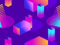 Φουτουριστικό άνευ ραφής σχέδιο με τις γεωμετρικές μορφές Isometric τρισδιάστατα αντικείμενα μπλε πορφύρα κλίσης Retrowave διάνυσ απεικόνιση αποθεμάτων