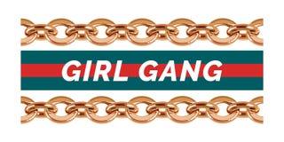 Φράση συμμορίας κοριτσιών με τα διακοσμητικά στοιχεία διανυσματική απεικόνιση
