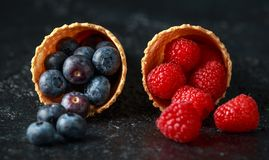 Φρέσκα βακκίνια, σμέουρα, φράουλες στους κώνους βαφλών στοκ εικόνα με δικαίωμα ελεύθερης χρήσης