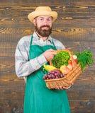 Φρέσκα οργανικά λαχανικά στο ψάθινο καλάθι Καπέλο αχύρου της Farmer που παρουσιάζει τα φρέσκα λαχανικά Farmer με homegrown στοκ εικόνα με δικαίωμα ελεύθερης χρήσης
