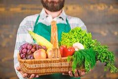 Φρέσκα οργανικά λαχανικά στο ψάθινο καλάθι Farmer που παρουσιάζει τα φρέσκα λαχανικά Farmer με τα homegrown λαχανικά μέσα στοκ φωτογραφίες με δικαίωμα ελεύθερης χρήσης