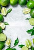 Φρέσκος juicy ασβέστης με τα φύλλα στοκ εικόνα με δικαίωμα ελεύθερης χρήσης