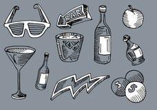 Φραγμός και καφές, ποτό και βέλος στο σύνολο arte μέσα διανυσματική απεικόνιση