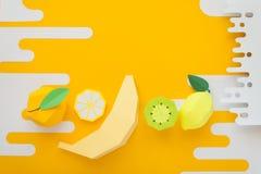 Φρούτα φιαγμένα από έγγραφο Κίτρινη ανασκόπηση Εκεί δωμάτιο ` s για το γράψιμο tropics Επίπεδος βάλτε στοκ φωτογραφία