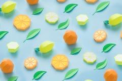 Φρούτα φιαγμένα από έγγραφο πρόσκληση συγχαρητηρίων καρτών ανασκόπησης Εκεί δωμάτιο ` s για το γράψιμο tropics Επίπεδος βάλτε Πορ στοκ εικόνες
