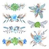 Φυλετικά στοιχεία σχεδίου στεφανιών σύντομων χρονογραφημάτων δασικά καθορισμένα στοκ φωτογραφίες
