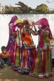 Φυλετικοί χορευτές στο Jaipur, Ινδία στοκ φωτογραφίες