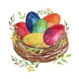 Φωλιά Πάσχας με τα χρωματισμένες αυγά Πάσχας, τα λουλούδια και τις εγκαταστάσεις άνοιξη σε ένα άσπρο υπόβαθρο διανυσματική απεικόνιση