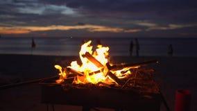 Φωτιά σε μια σχάρα σε μια όμορφη παραλία κατά τη διάρκεια του ηλιοβασιλέματος απόθεμα βίντεο