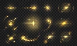 Φω'τα και σπινθήρες λάμψεων Χρυσός ακτινοβολήστε επίδραση, λαμπρές διαφανείς μόρια και ακτίνες, αφηρημένα αποτελέσματα φλογών διά διανυσματική απεικόνιση
