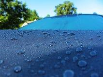 Χάντρες νερού σε μια κουκούλα αυτοκινήτων στοκ εικόνες
