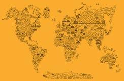 Χάρτης εικονιδίων γραμμών παγκόσμιου ταξιδιού Αφίσα ταξιδιού με τα ζώα και την έλξη επίσκεψης Εμπνευσμένη διανυσματική απεικόνιση απεικόνιση αποθεμάτων