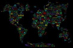 Χάρτης εικονιδίων γραμμών παγκόσμιου ταξιδιού Αφίσα ταξιδιού με τα ζώα και την έλξη επίσκεψης Εμπνευσμένη διανυσματική απεικόνιση ελεύθερη απεικόνιση δικαιώματος